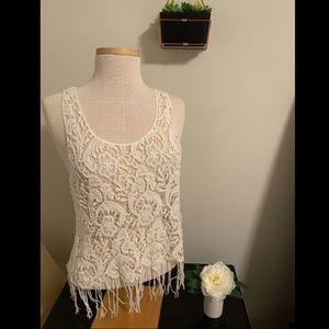 Charlotte Russe Crochet Fringe Top